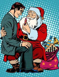 На коленках у Деда Мороза